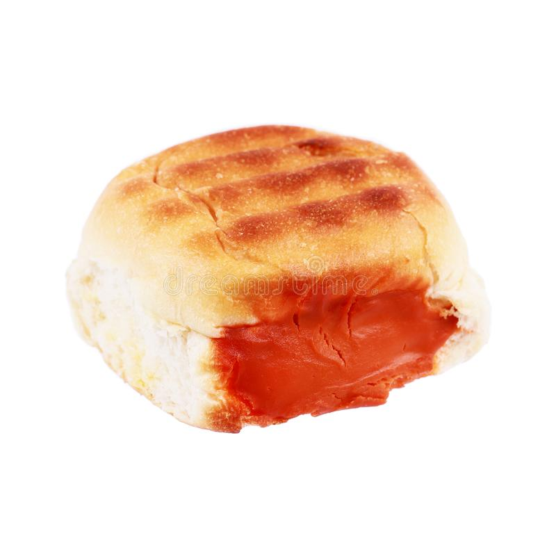 loaf of baked bread stuffed with lava cream isolated on white stock photography