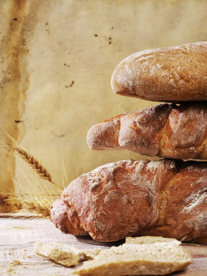 Rustic bread loafs royalty free stock photo