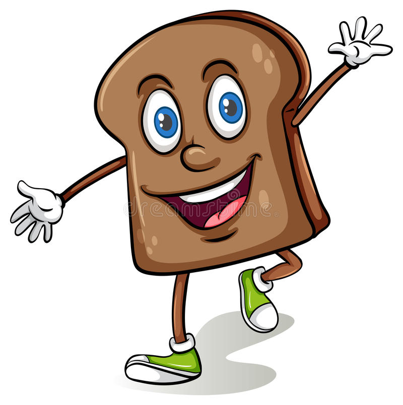 Loaf of bread with a face. On a white background stock illustration