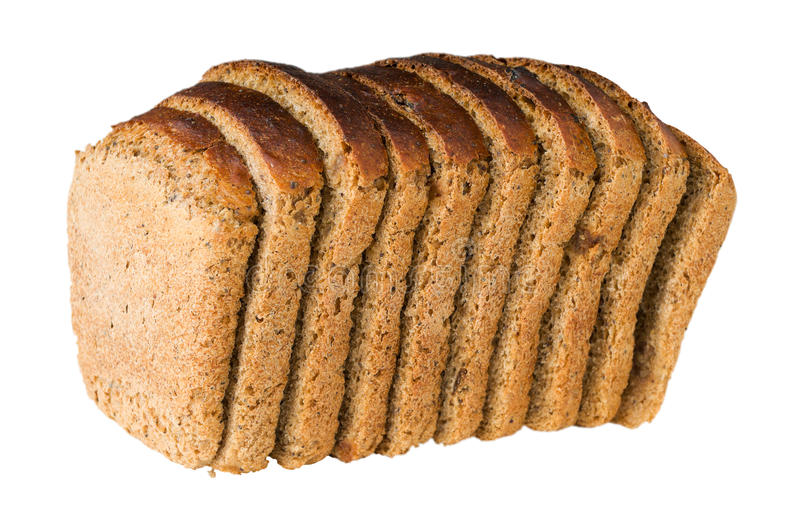 Loaf of bread with raisin cut by slices. Isolated on the white royalty free stock photography