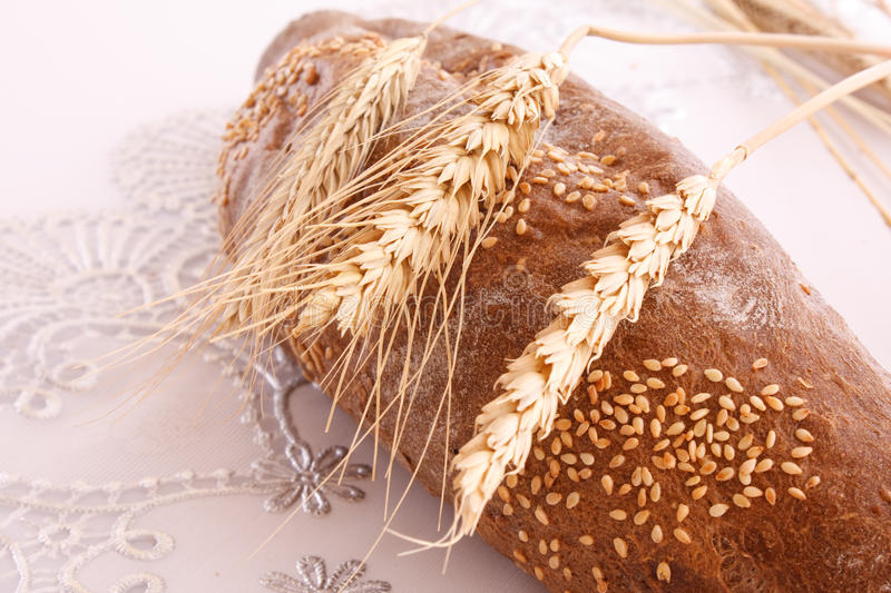 Download Loaf Of Bread On Tablecloth Stock Image - Image: 10860715