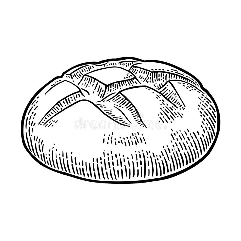 Loaf of bread. Vector black hand drawn vintage engraving. Illustration for poster, label and menu bakery shop. Isolated on the white background vector illustration