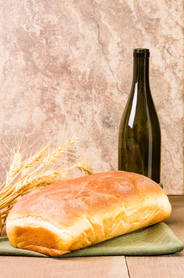 Download Loaf Of Bread With Wine Bottle Royalty Free Stock Photos - Image: 29020308