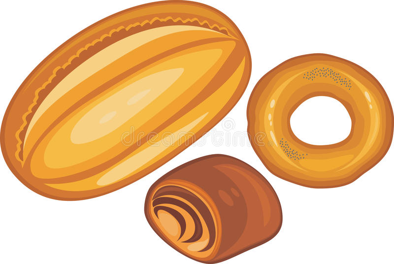 Loaf, bun and bagel isolated on the white royalty free stock images