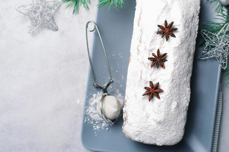 Loaf Cake Dusted with Icing Sugar, Christmas and Winter Holidays Treat stock photography