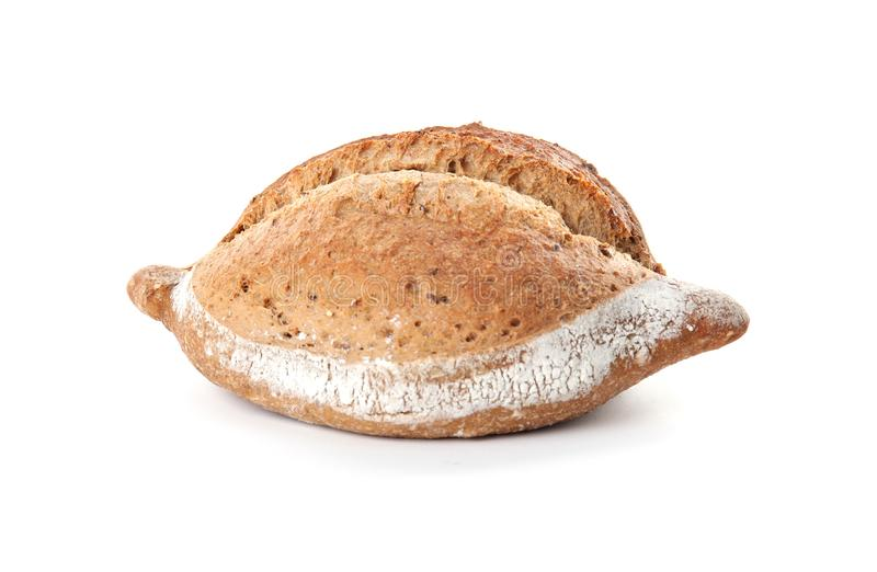 Loaf of fresh bread on white. Loaf of fresh bread isolated on white stock photo