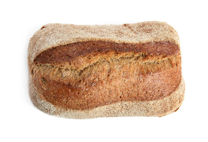 Loaf of fresh bread on white background. Top view royalty free stock photos