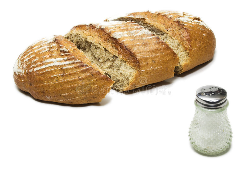 Loaf with saltcellar royalty free stock image