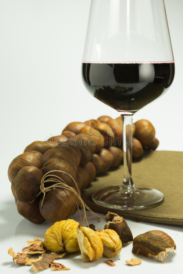 Loaf of steamed chestnuts. Chestnuts steamed and smoked and tied together royalty free stock photos