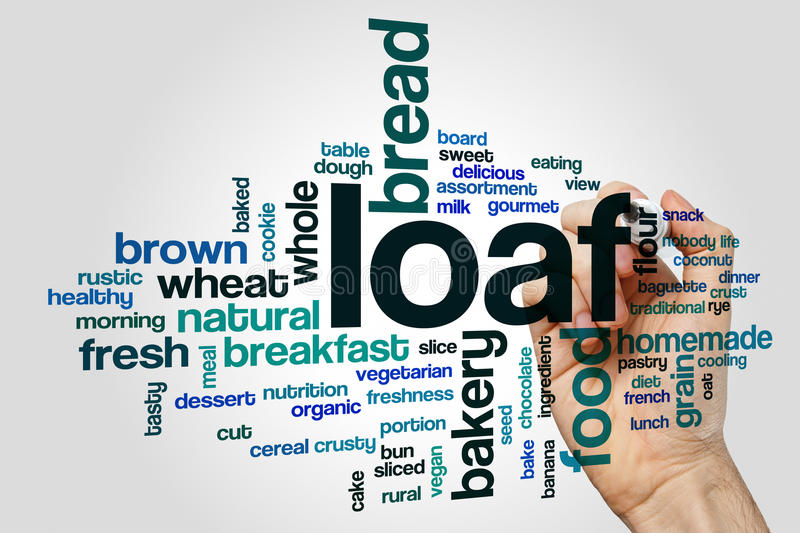 Loaf word cloud. Concept on grey background royalty free stock photos