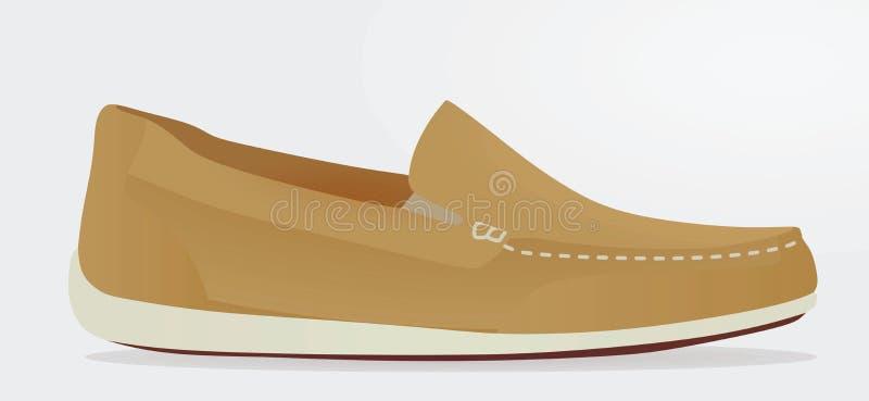 Loafer Брайна на белой предпосылке иллюстрация вектора