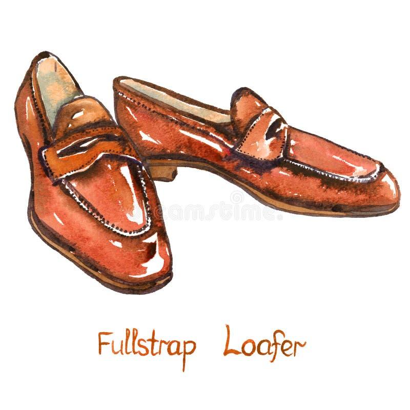 Loafer fullstrap кожи Брайна иллюстрация штока