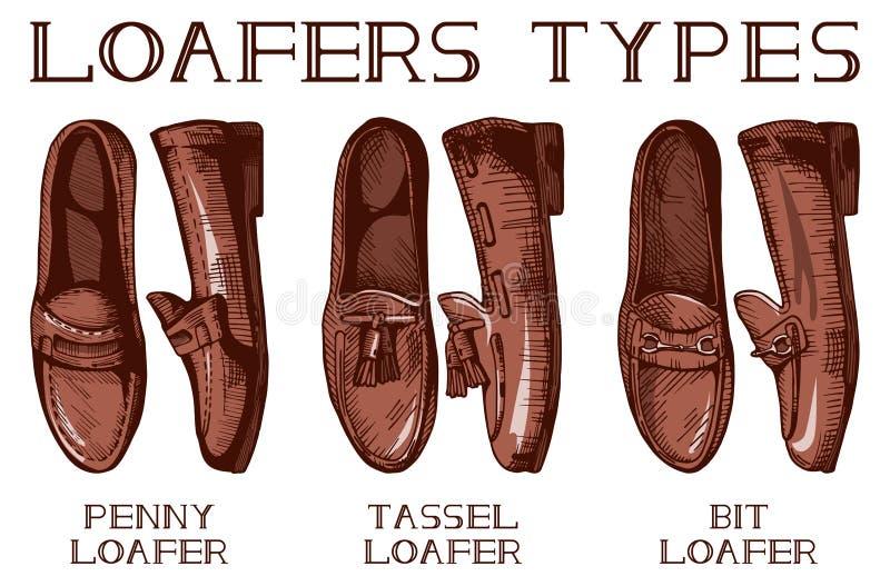 Loafer Men's обувает типы иллюстрация вектора