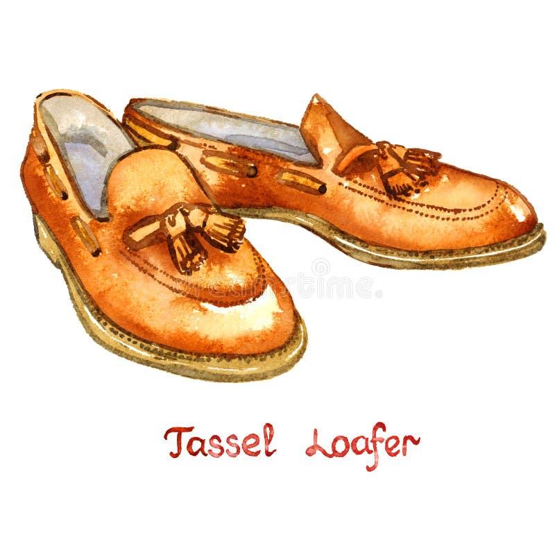 Loafer tassel кожи Брайна иллюстрация штока