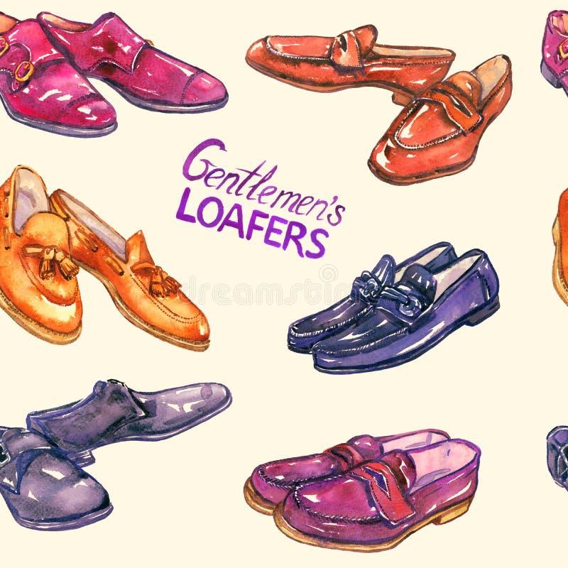 Loafers ` s джентльмена: loafer horsebit, loafer fullstrap, loafer пенни пальца ноги moc и loafer tassel, двойное monkstrap на мя бесплатная иллюстрация