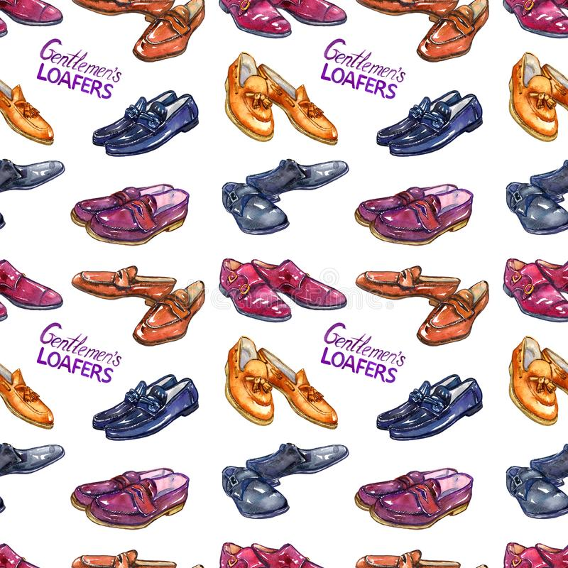 Loafers ` s джентльмена: loafer horsebit, loafer fullstrap, loafer пенни пальца ноги moc и loafer tassel, двойное monkstrap с над бесплатная иллюстрация