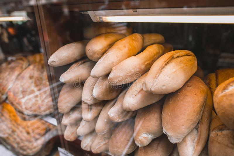 Loafs on fresh bread at showcase. In Istanbul, Turkey stock photography