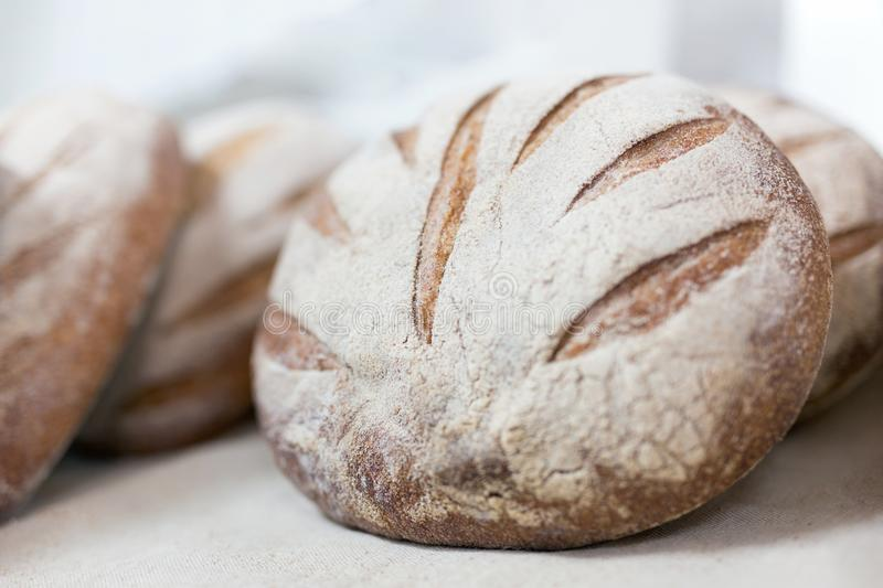 Loafs of warm tasty freshly baked bread in a bakery shop or market royalty free stock photography
