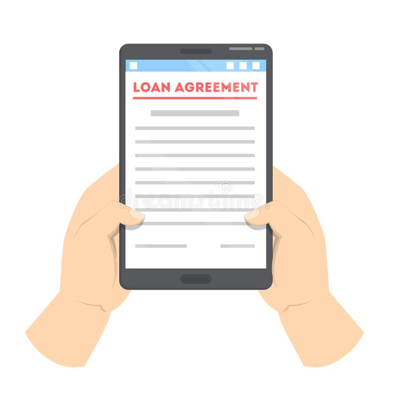 Loan agreement on the digital device. Online contract stock illustration
