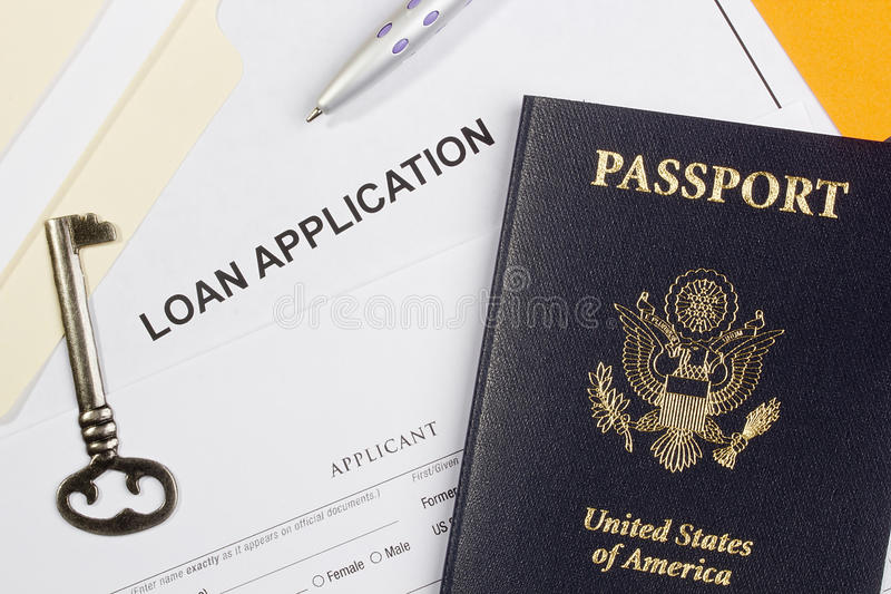 Loan Application. Directly above photograph of a loan application royalty free stock photography