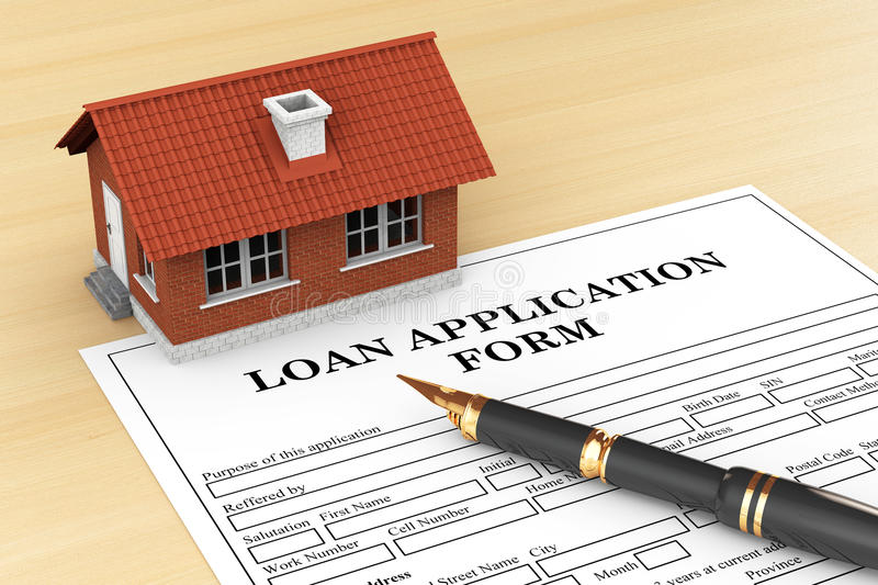 Loan Application Form with House and pen. On the table stock photos