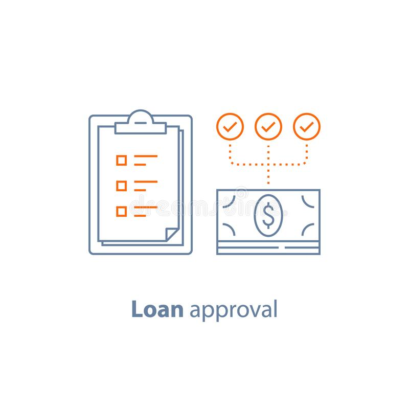 Payment installment, loan approval, checklist clipboard, insurance policy, financial service, line icon stock illustration
