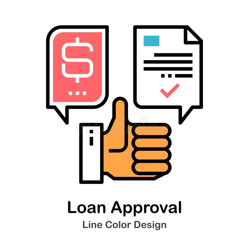 Loan Approval Line Color Icon. Loan Approval Icon In Line Color Design Vector Illustration stock illustration
