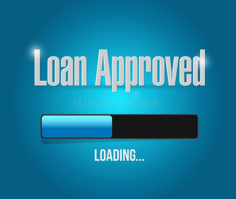 Loan approved loading bar sign concept. Illustration design over blue stock illustration