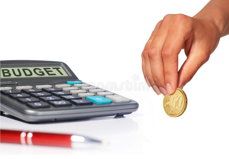 Loan calculator. Save money for investment stock photo