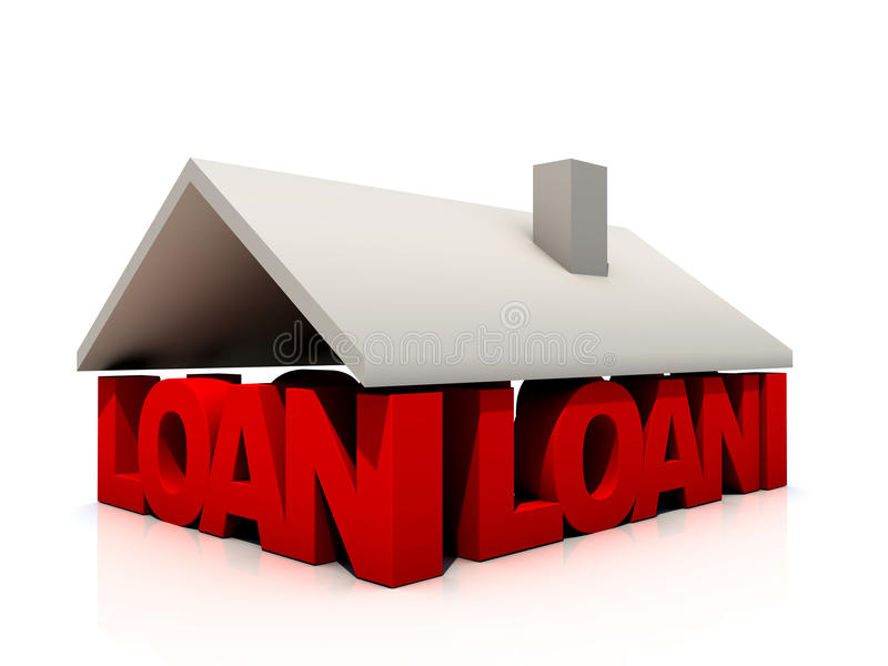 Loan. Covered by house roof vector illustration