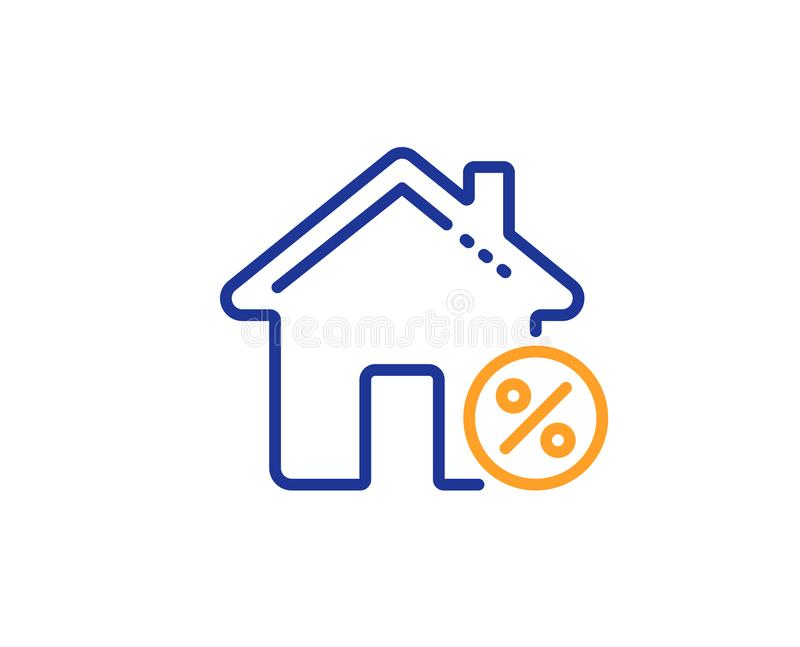 Loan house percent line icon. Discount sign. Vector. Loan house percent line icon. Discount sign. Credit percentage symbol. Colorful outline concept. Blue and vector illustration