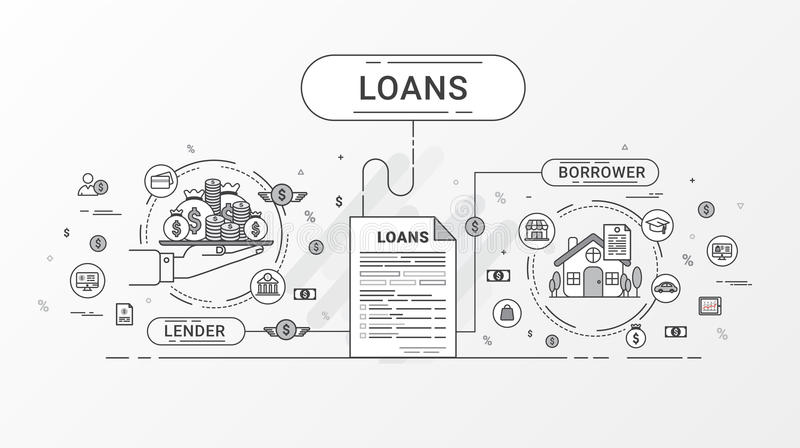 Loan Infographics. Loan agreement between the lender and the borrower. Flat line icons design contains creditor, and debtor. stock illustration