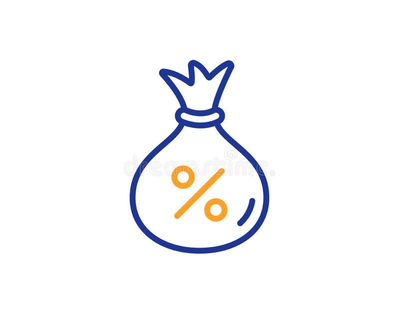 Loan line icon. Money bag sign. Vector. Loan line icon. Money bag sign. Credit percentage symbol. Colorful outline concept. Blue and orange thin line color Loan vector illustration