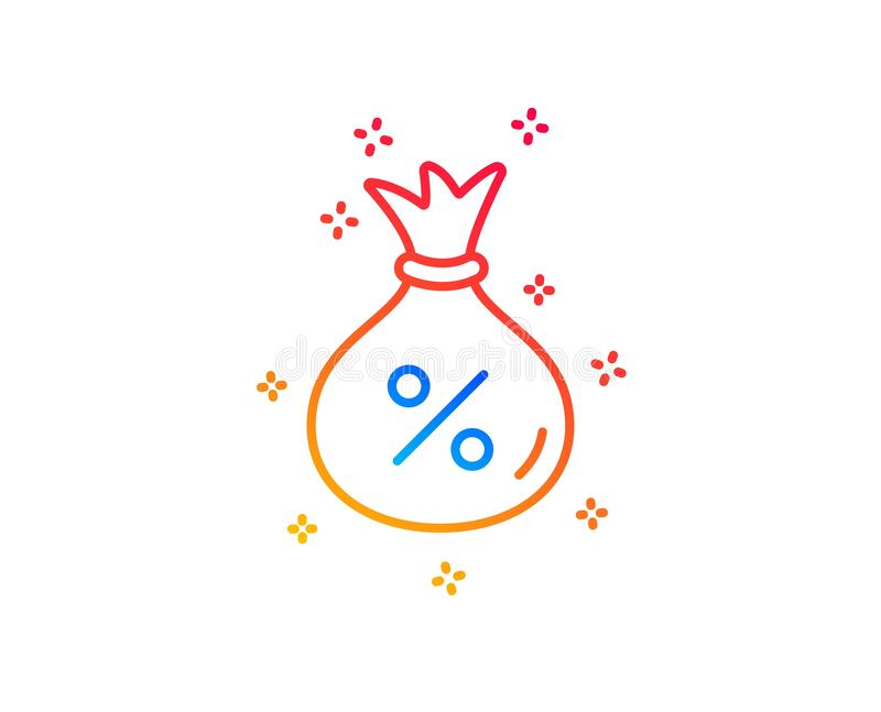 Loan line icon. Money bag sign. Vector. Loan line icon. Money bag sign. Credit percentage symbol. Gradient design elements. Linear loan icon. Random shapes vector illustration
