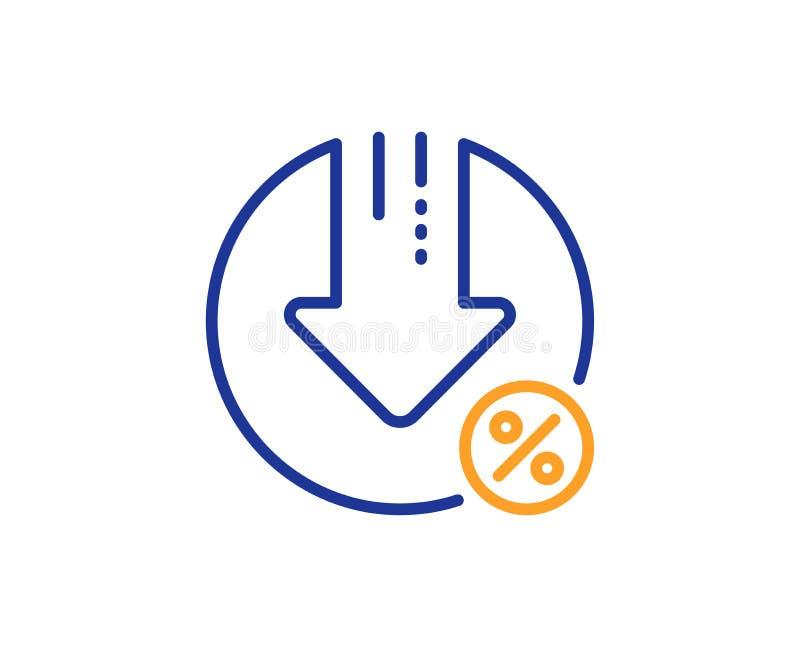 Loan percent decrease line icon. Discount sign. Vector. Loan percent decrease line icon. Discount sign. Credit percentage symbol. Colorful outline concept. Blue vector illustration