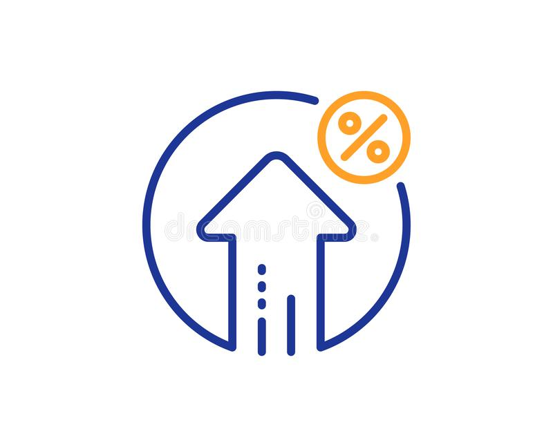 Loan percent growth line icon. Discount sign. Vector. Loan percent growth line icon. Discount sign. Credit percentage symbol. Colorful outline concept. Blue and vector illustration