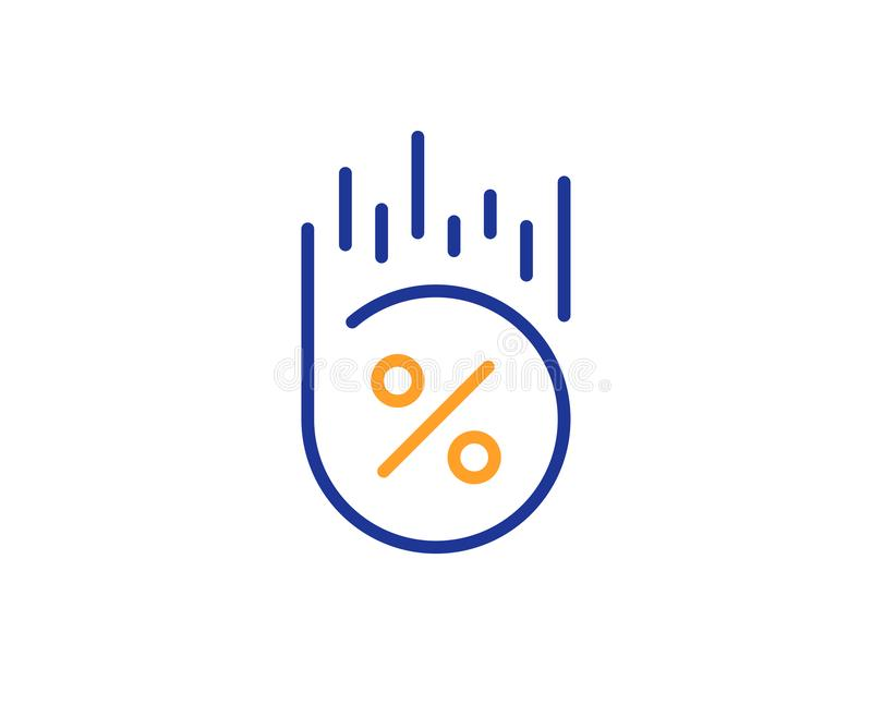 Loan percent line icon. Discount sign. Vector. Loan percent line icon. Discount sign. Credit percentage symbol. Colorful outline concept. Blue and orange thin royalty free illustration