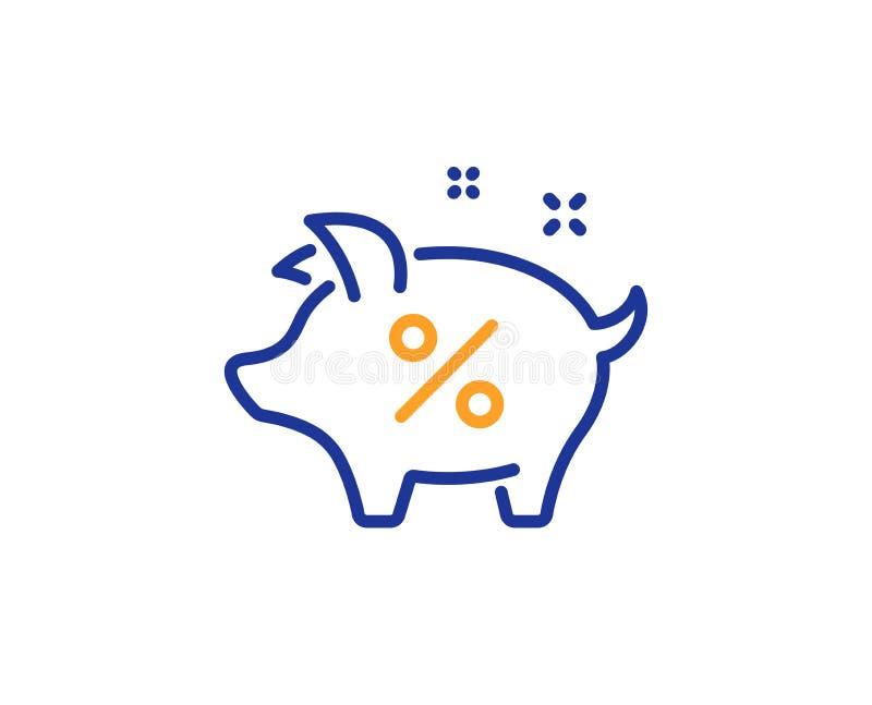 Loan percent line icon. Piggy bank sign. Vector. Loan percent line icon. Piggy bank sign. Credit percentage symbol. Colorful outline concept. Blue and orange stock illustration