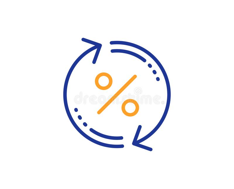 Loan percent update line icon. Discount sign. Vector. Loan percent update line icon. Discount sign. Credit percentage rate symbol. Colorful outline concept. Blue stock illustration
