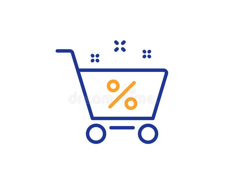 Loan shopping cart line icon. Discount percent sign. Vector. Loan shopping cart line icon. Discount percent sign. Credit percentage symbol. Colorful outline vector illustration