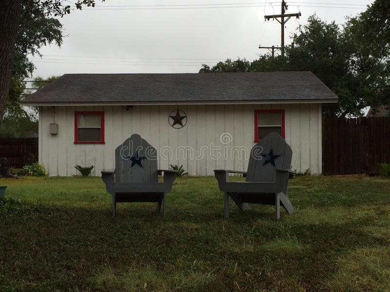 Loan Star State. Chairs loan star grass home pleasant Texas stock photography