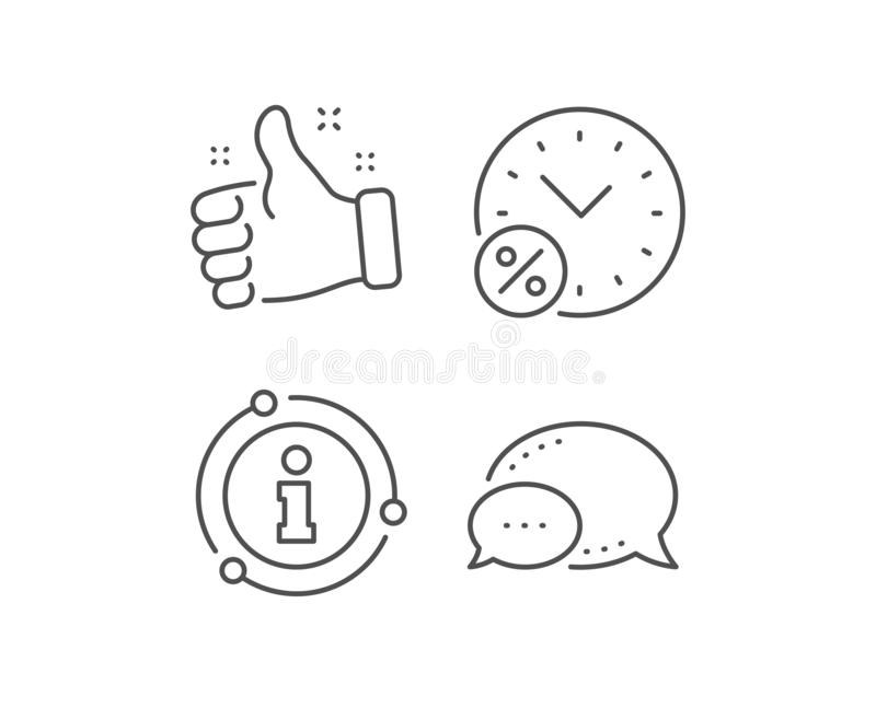 Loan time percent line icon. Discount sign. Vector. Loan time percent line icon. Chat bubble, info sign elements. Discount sign. Credit percentage symbol. Linear stock illustration