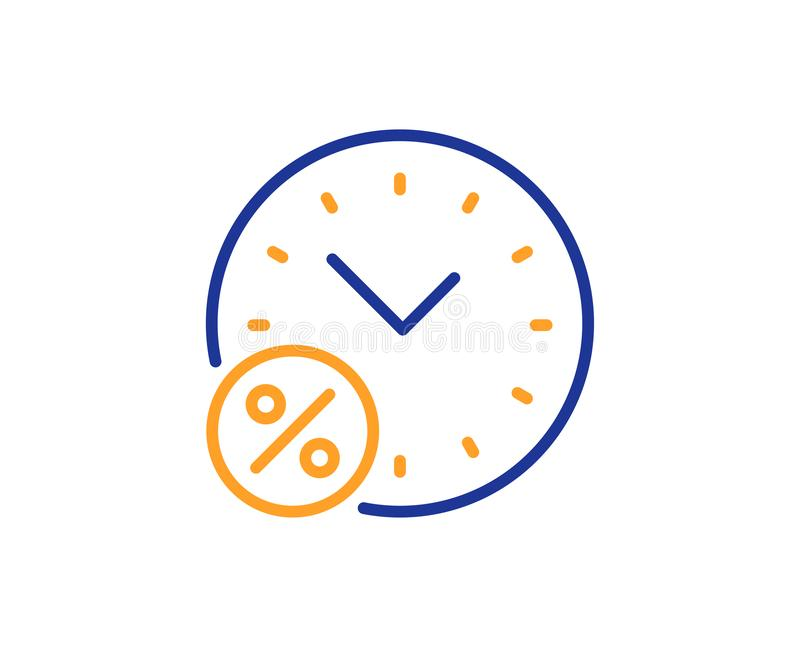 Loan time percent line icon. Discount sign. Vector. Loan time percent line icon. Discount sign. Credit percentage symbol. Colorful outline concept. Blue and stock illustration