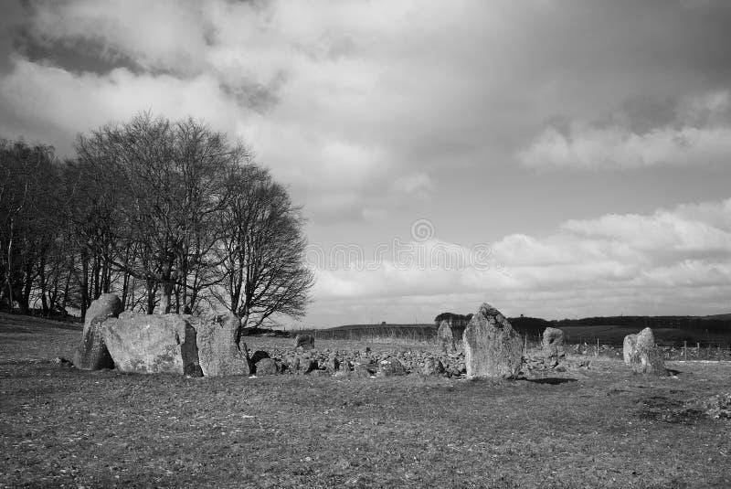 Loanhead empiedra el sitio de la cremación del círculo y del ceremonial en el aberdeenshire Escocia del daviot fotografía de archivo libre de regalías