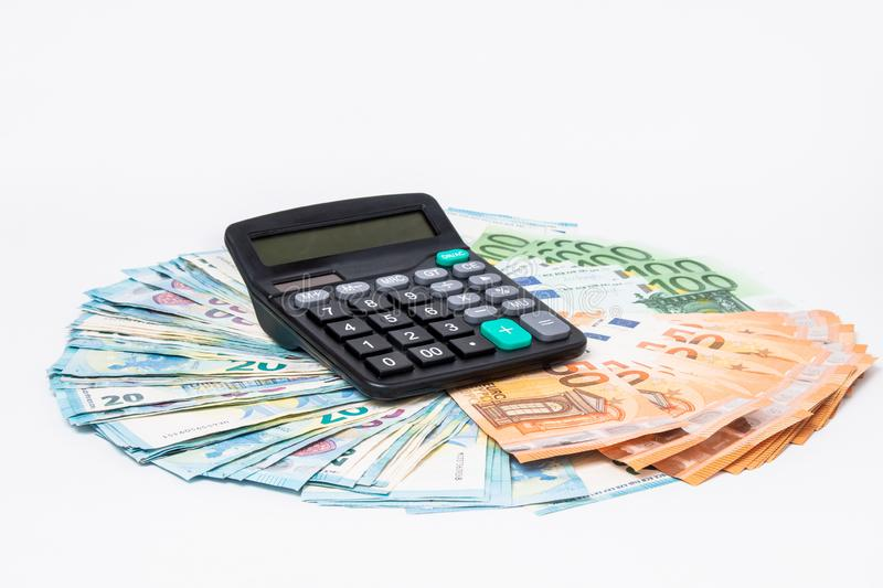 Loans and debts concept. Euro banknotes Laid out in a cicircle on white background. Money finance earning sector concept. Copy spa. Ce for text. Stack of money stock image