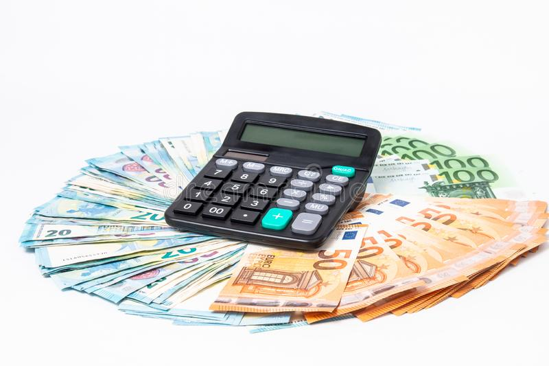 Loans and debts concept. Euro banknotes Laid out in a cicircle on white background. Money finance earning sector concept. Copy spa. Ce for text. Stack of money stock photos