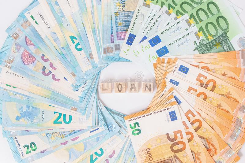 Loans and debts concept. Euro banknotes Laid out in a cicircle on white background. Money finance earning sector concept. Copy spa. Ce for text. Stack of money royalty free stock photography