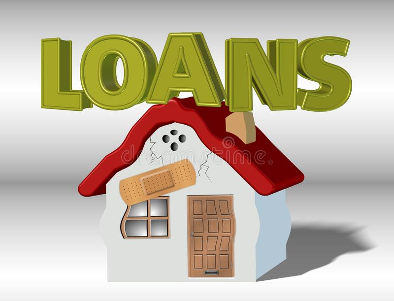 Loans and household. A house collapsing under weight of a word loans