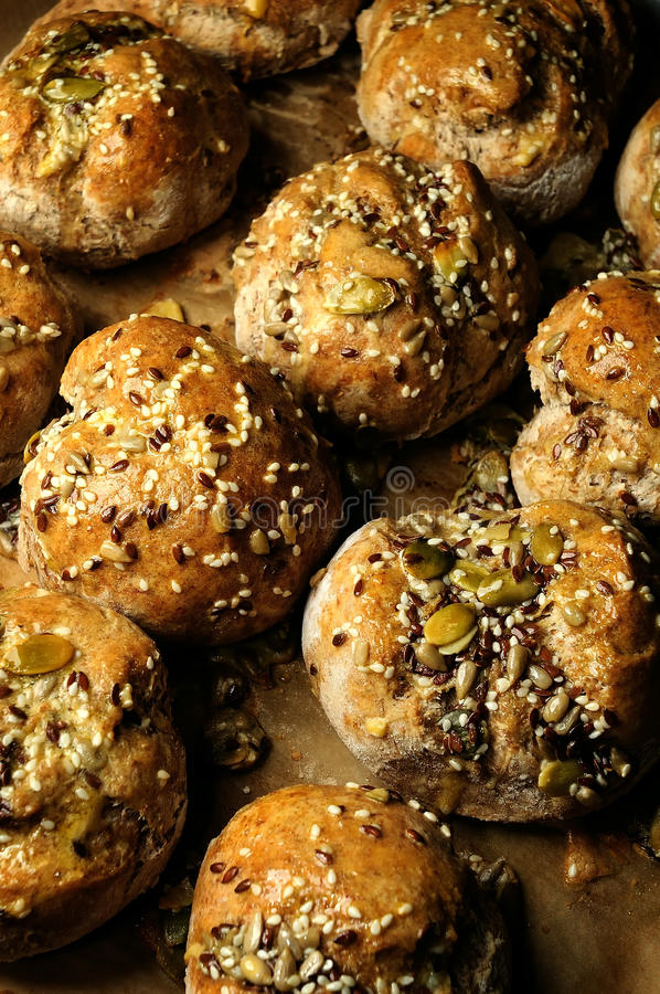 Fresh Baked Bread Loaves With Seeds Stock Images
