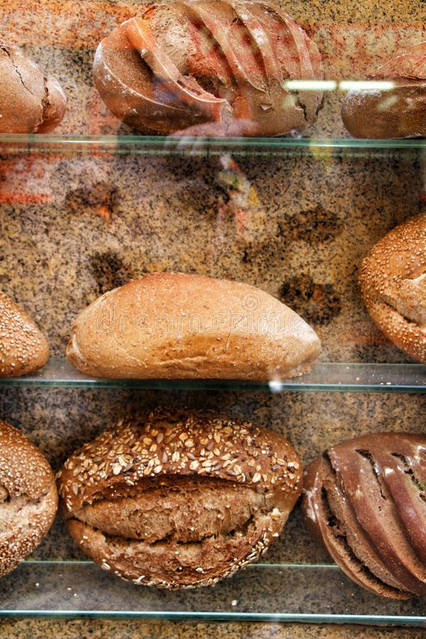 Loaves of bread in a showcase stock photography